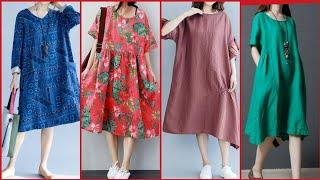 Top Stylish Comfortable Casual Cotton /Leelun Loose Fitting Midi And Long Dress Design