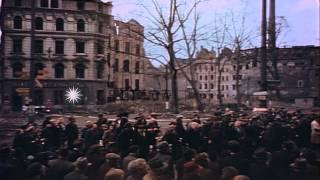 German civilians listening news in Cologne in Germany during World War 2 HD Stock Footage