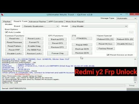 Mi Redmi Y2 account and frp remove umt new edl 2 - смотреть