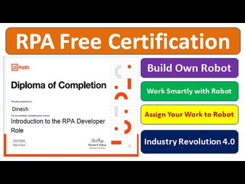 Uipath RPA Free Certificate  Robotic Process Automation Course with Certificate  #freerpacertificate