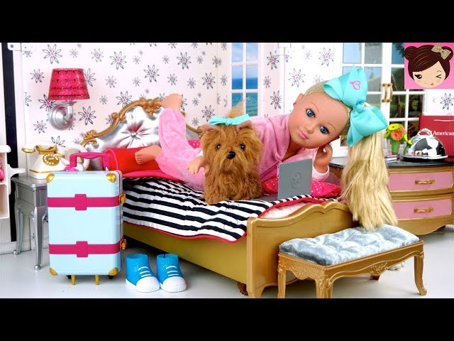 Jojo Siwa Doll Travel Routine in American Girl  Grand Hotel Playset - Meet & Greet