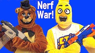 Nerf War:  Chica vs Freddy - Who Wins?????