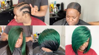 How To Do A Quickweave With No Leave Out  Layered Green &black Razor Cut Bob  Protective Cap Method