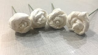 DIY EASY PAPER ROSES MAKE OF TISSUE PAPER  FOR MOTHER'S DAY, LAST MINUTE GIFTS IDEA