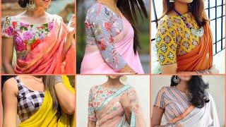 Plain Saree Printed Blouse Design Ideas || Printed Blouse With Plain Chiffon Saree 2019