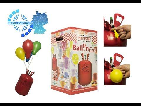 Ballongas/Helium Komplett Set XXL mit 50 Ballons - Einwegset