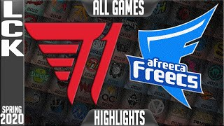 T1 vs AF Highlights ALL GAMES | LCK Spring 2020 W9D1 | T1 vs Afreeca Freecs