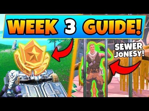 Fortnite WEEK 3 CHALLENGES GUIDE!: Secret Battle Star, Jonesy in the Sewers (Battle Royale Season 9)