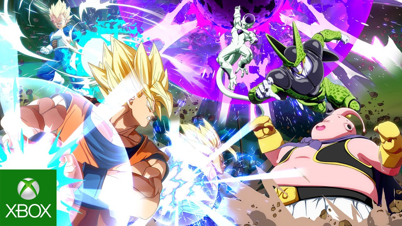 A group of dragon ball z characters fighting