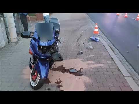 Wideo1: Zderzenie motocyklisty z audi na ul. Wilkowickiej w Lesznie