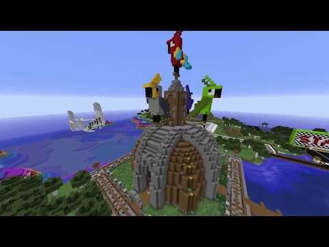 The Parrot House: Redstone Parrot Waterfall Minecraft Project