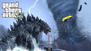 HUGE TORNADO AND GODZILLA DESTROY LOS SANTOS - GTA 5 APOCALYPSE NATURAL DISASTERS MOD