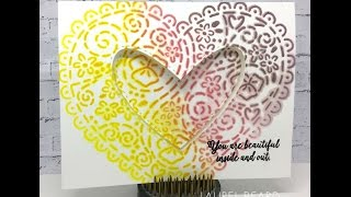Inlaid Layered stenciled die cutting with distress inks