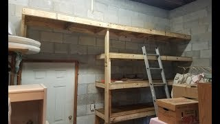 Building 2x4 Storage Shelves for Garage on Concrete Block Wall