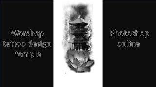 workshop tattoo design temple oriental, Photoshop online