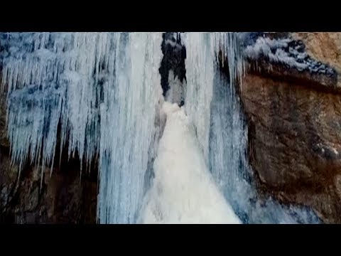 Spectacular views of a frozen waterfall in NW China