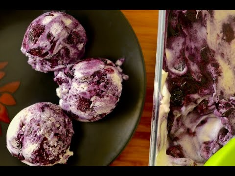 Video Homemade Blueberry Cheesecake Ice Cream Recipe | No Eggs No Ice Cream Machine