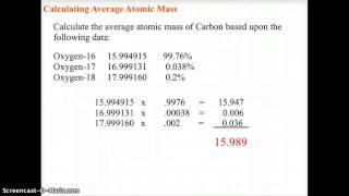 CH 4 CHEMISTRY AVERAGE ATOMIC MASS