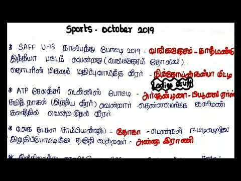 Sports Current Affairs - October 2019