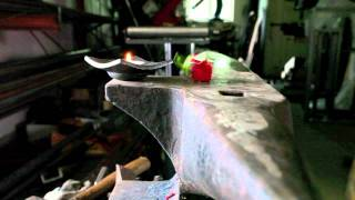 Artist blacksmith Tobbe Malm forges tango jewelry and dances anvil tango