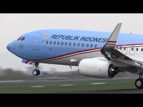 Indonesia Air Force B737-800 BBJ [A-001] Takeoff From Amsterdam Schiphol!