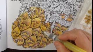 Tutorial - Coloring with neocolor II crayons - imagimorphia coloring book