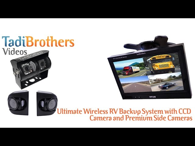 RV or Trailer Rear View System with 4 Wireless Backup Cameras and ...