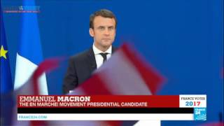 What 39 year-old France presidential aspirant told supporters after winning 1st round