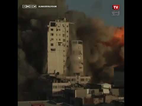 تدمير برج الشروق في غزة جراء القصف الإسرائيلي