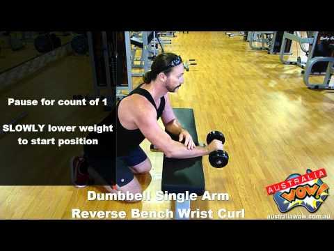 Dumbbell Single Arm Reverse Bench Wrist Curl