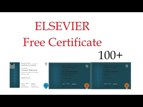 ELSEVIER FREE CERTIFICATE - YouTube