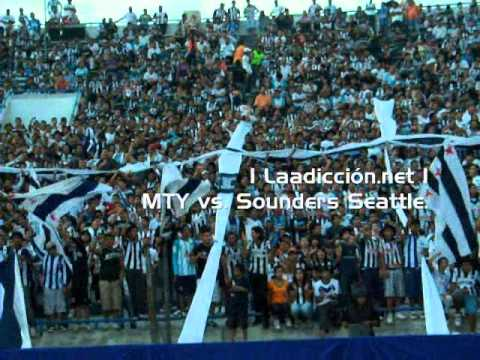 """""""La Adiccion - con bombo y bandera. Monterrey vs Seattle"""" Barra: La Adicción • Club: Monterrey"""