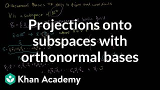 Lin Alg: Projections onto subspaces with orthonormal bases