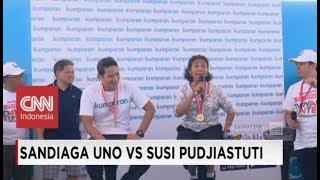Sandiaga Uno Goda Menteri Susi Pudjiastuti Usai Tarung Di Festival Danau Sunter