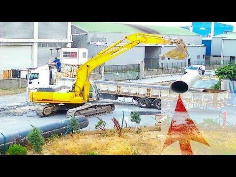 Dev Su Borularını Tırdan Indirme Anı Kepçe Videoları Kepçeler