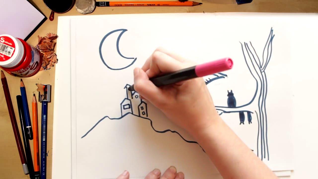 Como dibujar un Murcielago - dibujos de halloween para niños