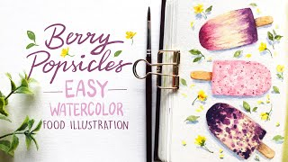 Berry Popsicles: EASY Watercolor Food Illustration