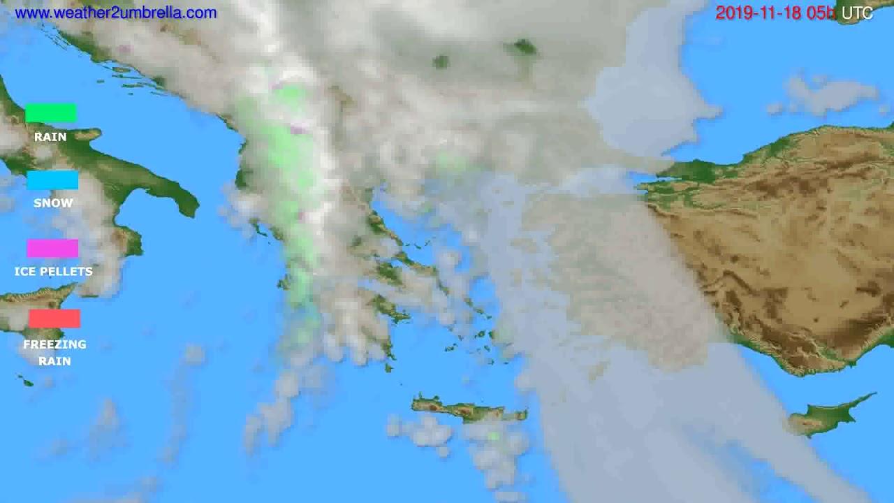 Precipitation forecast Greece // modelrun: 12h UTC 2019-11-16