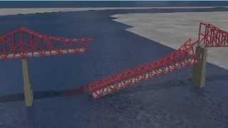 Jacksonville Florida, St Johns River Mathews Bridge Accident Simulation/Animation - Dr. Adel ElSafty