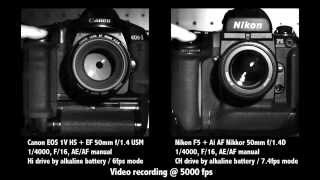 Canon EOS-1V HS vs Nikon F5 Slow-motion@5000fps