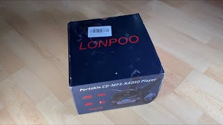 LONPOO Portable Stereo CD Player Sport Boombox FM Radio with Aux Line in unboxing and instructions