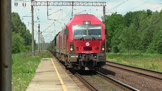 Тепловозы ER20-016+032 и 042 на о.п. Каугонис / ER20-016+032 and 042 at Kaugonys stop