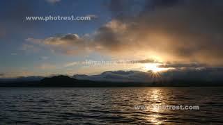 秋の屈斜路湖の夕景