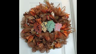 How To Make A Fall Deco Mesh Wreath Poof Curl Method