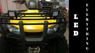 LED Pods and Headlights Install On My 4 Wheeler