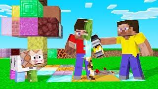 Minecraft, But Touch = RANDOM BLOCK! (lucky & unlucky)