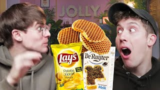 British Guys Try DUTCH SNACKS!! 🇳🇱 (they Have The BEST Names 😂)