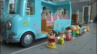Crayon Shin Chan 10 friends Kindergarten bus Toys Play video for kids