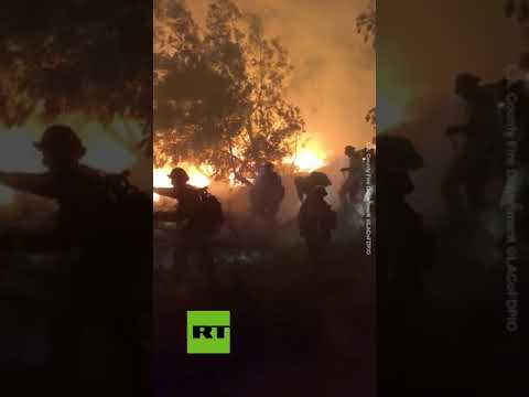 LA firefighters battle Saddleridge fire