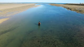 DRONE FOOTAGE of Barred Creek during the low tide (north of Broome, Western Australia).